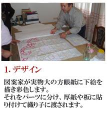 1.デザイン 図案家が実物大の方眼紙に 下絵を描き彩色します。 それにパーツを分け、厚紙や 板に貼り付けて織り子に 渡されます。