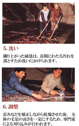 5.洗い 織り上がった絨毯は、長期にわたる汚れを落とすため洗いにかけられます。 6.調整 歪みなどを矯正しながら乾燥させた後、全体の毛足の長さを一定にするため、専門家による刈り込みが行われます。
